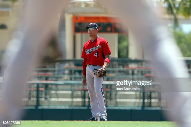 A view of 2017 first overall pick in the Major League Baseball Amateur Draft Royce Lewis of the Twins at shortstop thru the legs of first baseman...