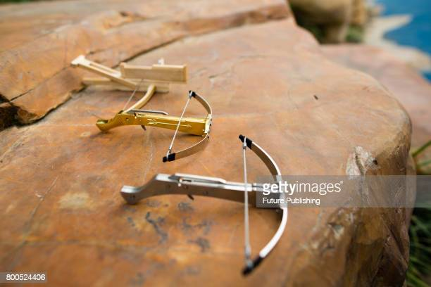 View of 3 toothpick crossbows a latest dangerous toy that parents called for banning on June 24 2017 in Yangzhou China The mini crossbow can shoot...