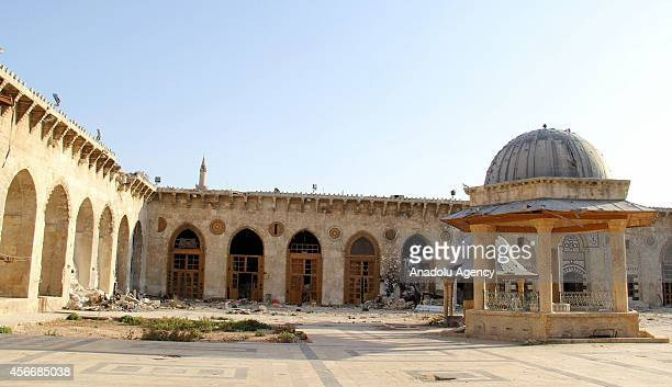 A view of 300 hundred year old Umayyad Mosque also known as the Great Mosque of Damascus after the shelling during the Syrian civil war in Damascus...
