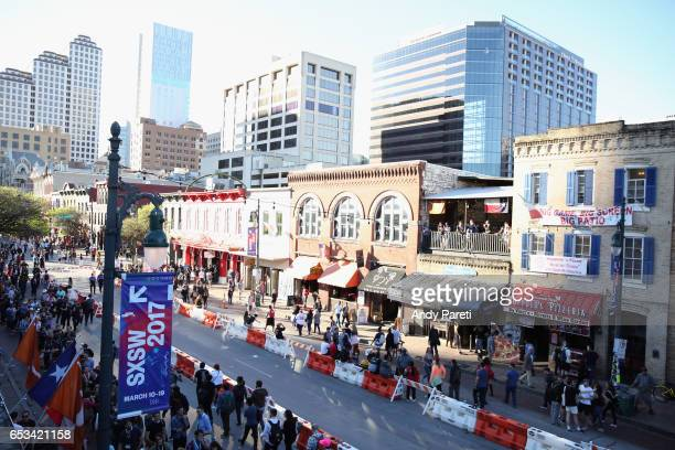 A view of 6th Street from inside the Music Opening Party during 2017 SXSW Conference and Festivals at Maggie Mae's on March 14 2017 in Austin Texas