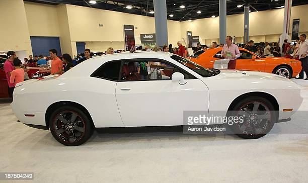 A view of a 2013 Dodge Challenger at Miami International Auto Show at the Miami Beach Convention Center on November 9 2013 in Miami Beach Florida