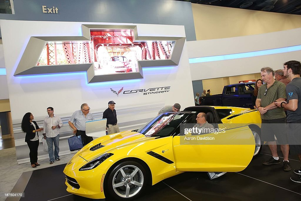 A view of a 2014 Corvette Stingray at Miami International Auto Show at the Miami Beach Convention Center on November 9, 2013 in Miami Beach, Florida.