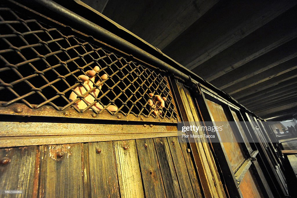 A view of a a train carriage, part of a memorial at Platform 21 (Binario 21), which was used for transporting Jews to concentration camps during World War II, during the opening of 'Memoriale della Shoa' on International Holocaust Remembrance Day on January 27, 2013 in Milan, Italy. 'Memoriale della Shoa' is located at Platform 21 (Binario 21), which formed part of a secret underground rail network that transported hundreds of Jews to camps such as Auschwitz and Dachau, from1943 to 1945.