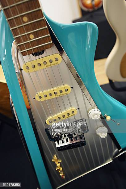 A view of a American Showster Ô57 Chevy guitar on display during Guernsey's Celebrity Guitar Auction preview at Bohemian National Hall on February 24...