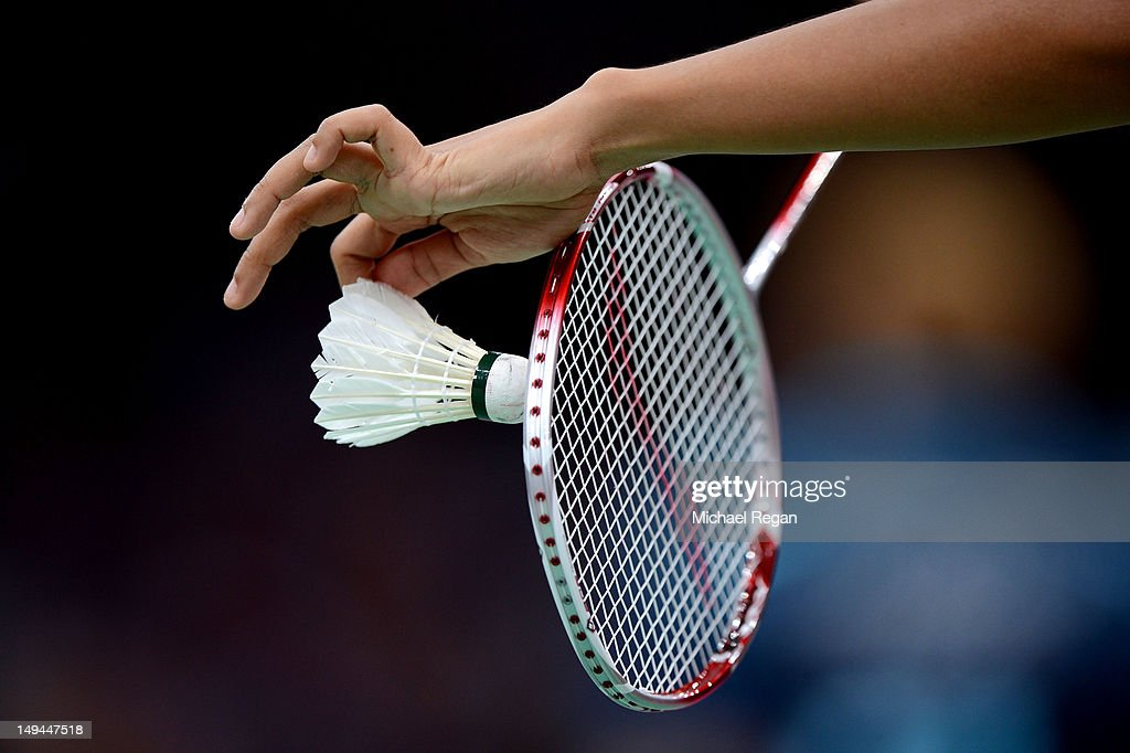 A view of a Badminton Shuttlecock and Racket during Day 1 of the London 2012 Olympic Games at Wembley Arena on July 28, 2012 in London, England.
