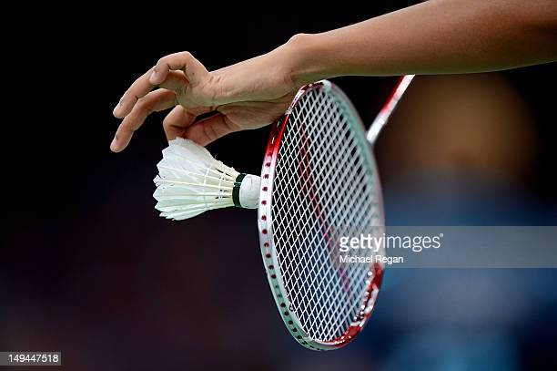 A view of a Badminton Shuttlecock and Racket during Day 1 of the London 2012 Olympic Games at Wembley Arena on July 28 2012 in London England