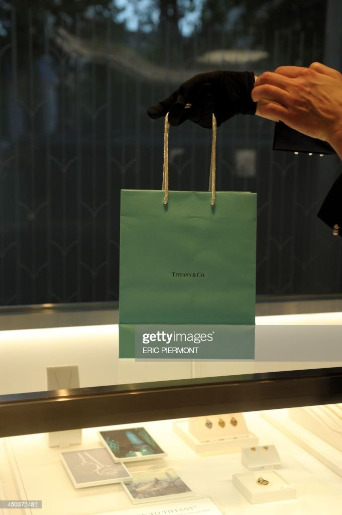 A view of a bag made for customers inside the Tiffany and Co jewellery store on on the Champs Elysees on June 10 on the day of the opening of the...