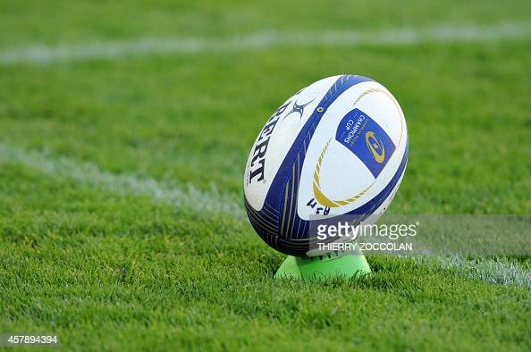 View of a ball during the European Champions Cup rugby union match between ASM Clermont Auvergne and the Sale Sharks at the Michelin stadium in...