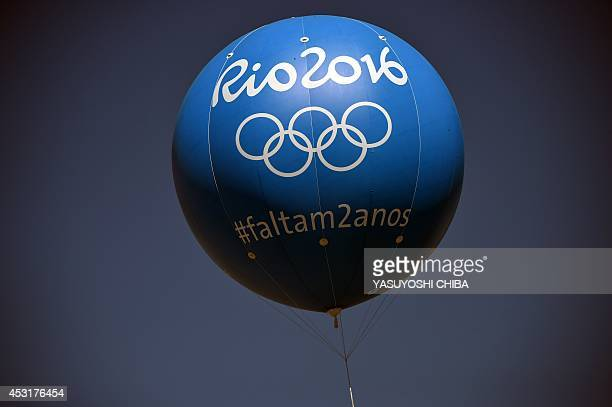 View of a balloon depicting logo of the 2016 Olympic Games on the eve of the day that marks two years for the start at the construction site of the...