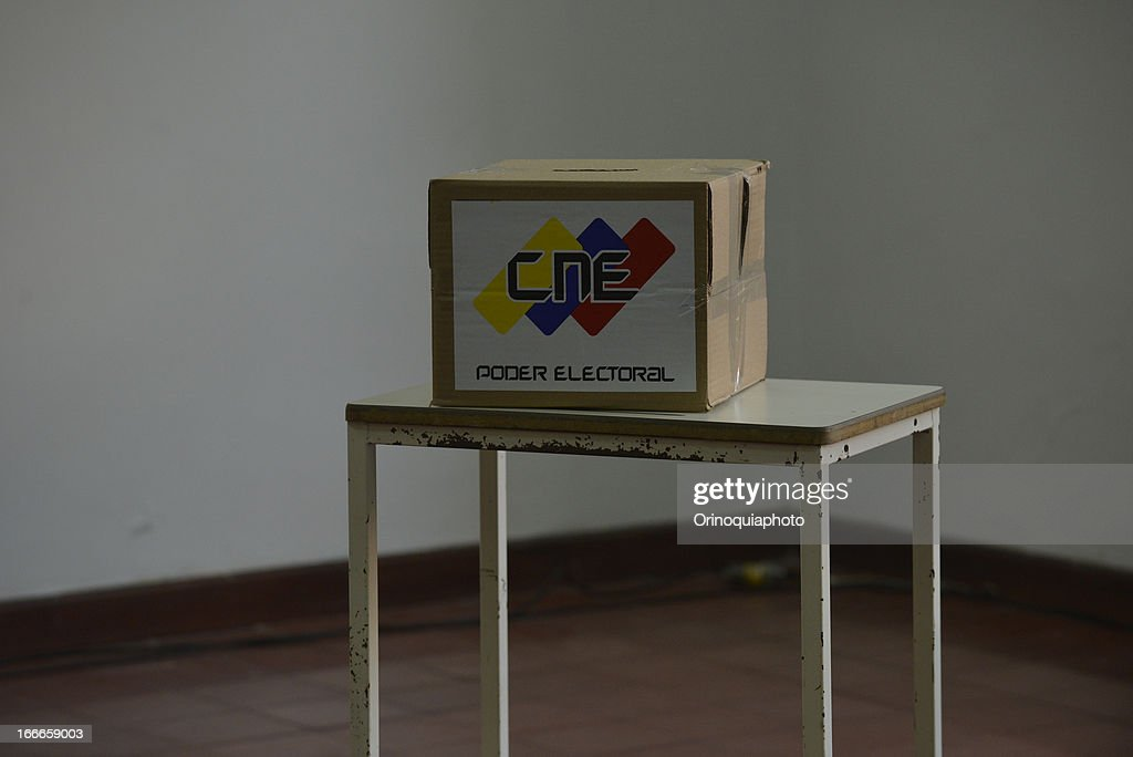 View of a ballot box at voting centers to during the presidential elections on April 14, 2013 in Caracas, Venezuela. Nicolas Maduro, political heir of the late Venezuelan President Hugo Chavez, competes with opposition candidate Henrique Capriles.