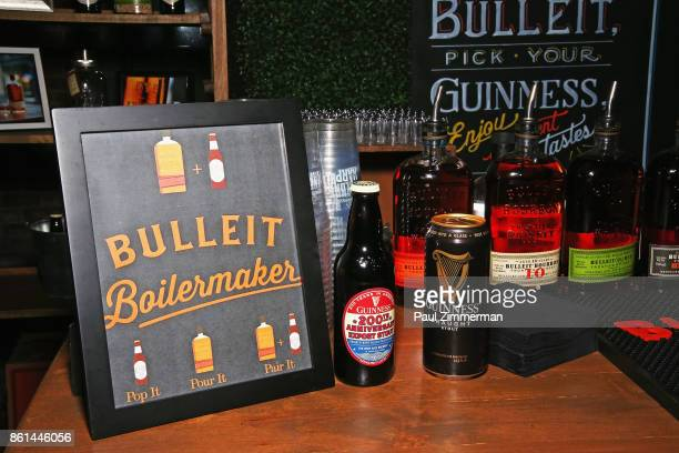 A view of a bar with Bulleit and Guiness beverages during the Jimmy Kimmel Live Welcome to Brooklyn kickoff hosted by SMIRNOFF vodka at Pioneer Works...