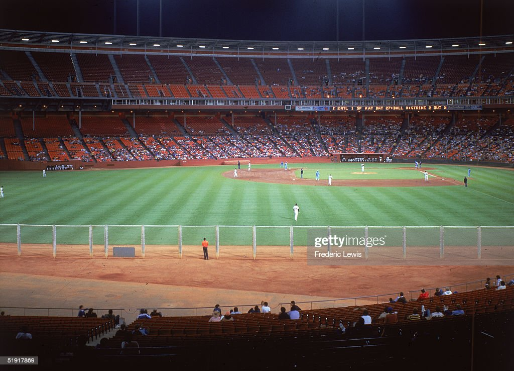 View of a baseball game between the San Francisco Giants and the Atlanta Braves at Candlestick Park San Francisco California late 1980s
