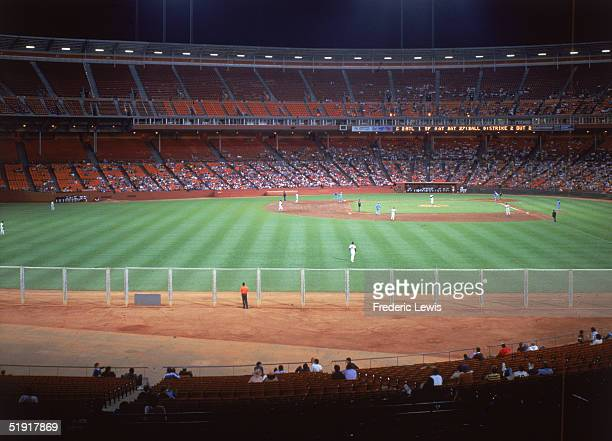 View of a baseball game between the San Francisco Giants and the Atlanta Braves at Candlestick Park San Francisco California late 1980s