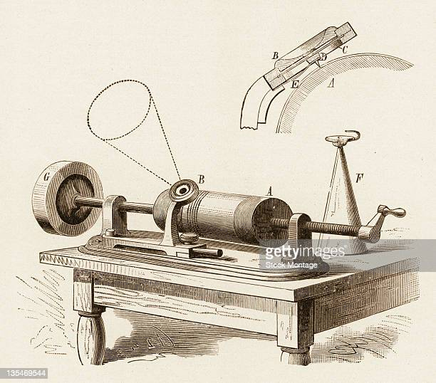 View of a blueprint for Thomas Edison's second version of a phonograph circa 1878 The record was played by using a hand crank to rotate the cylinder...