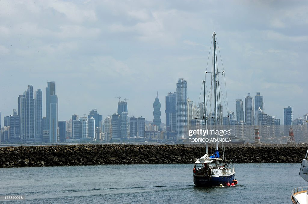 View of a boat at Puerto Amador, in the suburbs of Panama City on April 24, 2013. AFP PHOTO/ Rodrigo ARANGUA