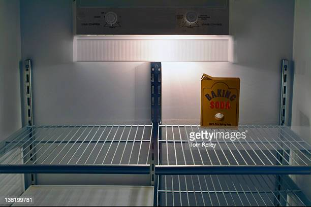 View of a box of 'baking soda' in an otherwise empy refridgerator 2007