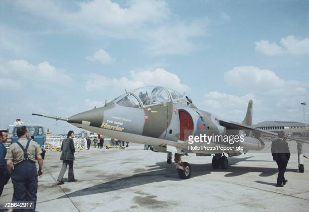 View of a British built Hawker Siddeley Harrier vertical/short takeoff and landing jet fighter aircraft on static display at Le Bourget Airport...