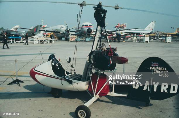 View of a British built Layzell Cricket autogyro manufactured by Campbell Aircraft on static display at Le Bourget Airport during the 1971 Paris Air...