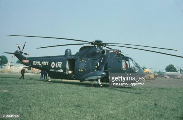 View of a British built Westland WS61 Sea King four bladed twin engine Royal Navy helicopter on static display at Le Bourget Airport during the 1971...