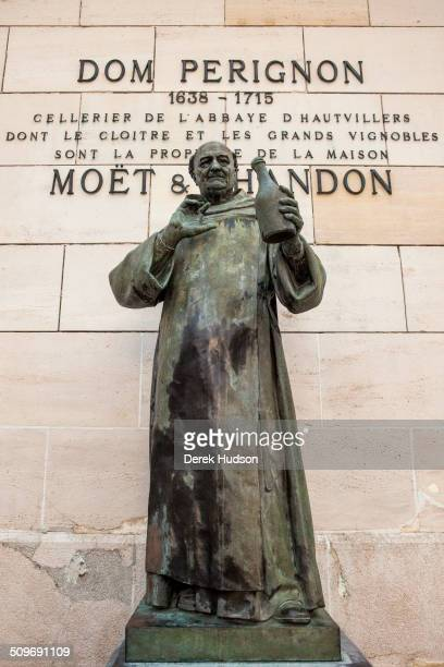 View of a bronze statue of the French friar Dom Perignon at the Moet Chandon winery Epernay France October 2009