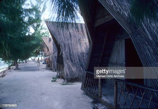 A view of a bungalow in May 1980 of Tetiaroa Island
