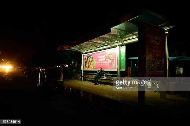 View of a bus shelter at night on August 27 2014 in New Delhi India