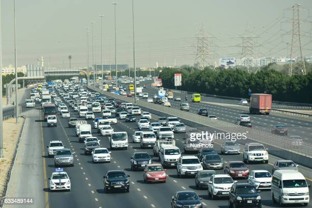 A view of a busy road traffic around Dubai On Wednesday 1st February in Dubai UAE