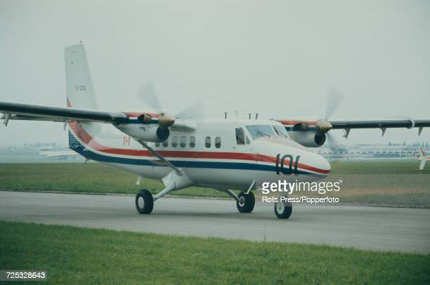 View of a Canadian built de Havilland Canada DHC6 Twin Otter turboprop aircraft taxiing along a runway at Le Bourget Airport during the 1971 Paris...