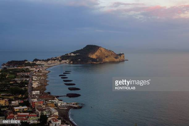 View of a Cape Miseno sunset located in Campi Flegrei zone Campania region southern Italy