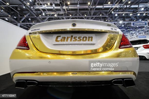 A view of a Carlsson CS50 Versailles edition car model at the stand of the German car tuning company during the Geneva Motor Show on March 7 in...