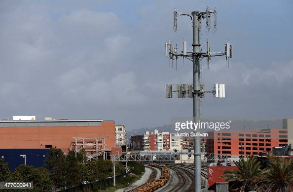 A view of a cellular communication tower on March 6 2014 in Emeryville California The US Labor Department is asking mobile phone providers to...