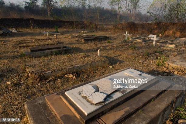 MCCLUSKIEGUNJ RANCHI JHARKHAND INDIA A view of a cemetery where many AngloIndians of McCluskiegunj lie buried McCluskiegunj is a town founded by...