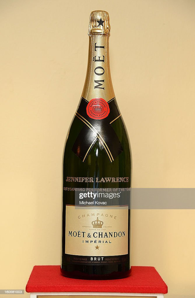 View of a champagne bottle at The Moet & Chandon Lounge at The Santa Barbara International Film Festival on February 2, 2013 in Santa Barbara, California.