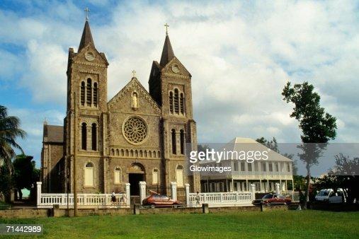 View of a church, St. Kitts, Leeward Islands, Caribbean.