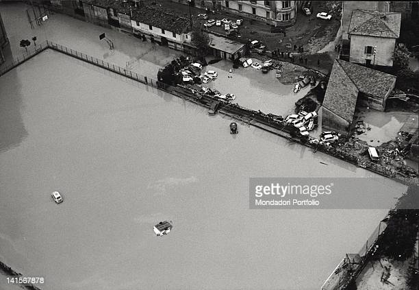 View of a city district inundated by the flood of the Arno River Florence November 1966