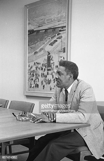 View of a Civil Rights leader Bayard Rustin as he sits at a conference table New York 1964