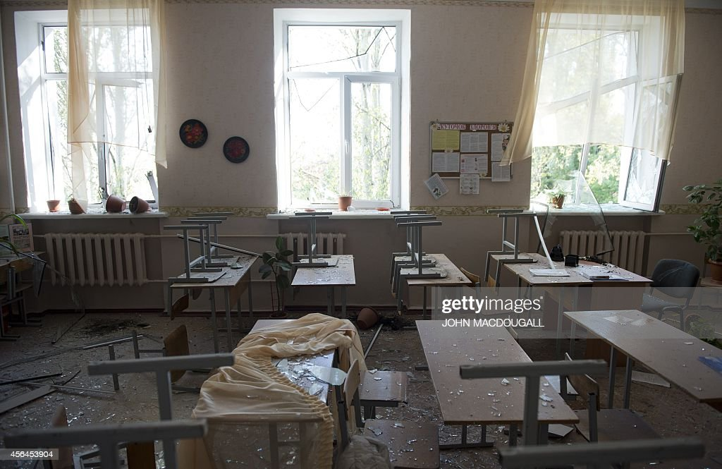 View of a classroom in a damaged school in Donetsk on October 1 after a shell exploded nearby Four people were killed in the blast which took place...