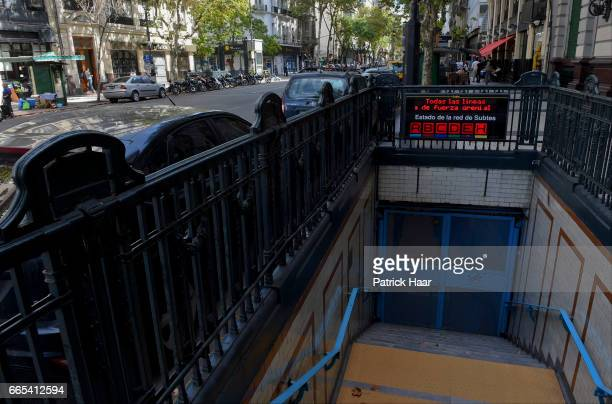 View of a closed subway line of Buenos Aires' city centre during the national CGT strike and the CTA against the economic policies of President...