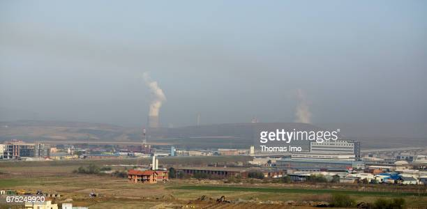 View of a coal power station on March 30 2017 in Pristina Kosovo