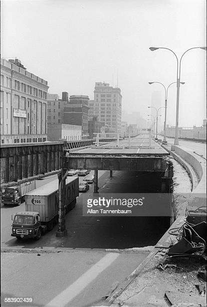 View of a collapsed section of the West Side Highway New York New York May 15 1974