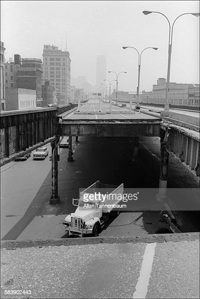 View of a collapsed section of the West Side Highway New York New York May 15 1974 The collapse forced the condemnation of the elevated highway and...