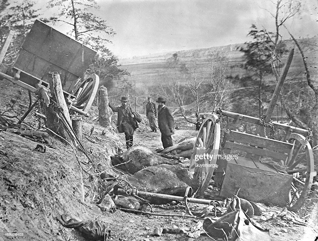 View of a Confederate caisson and eight dead horses destroyed by a 32 pound shell Maryre's Heights Fredericksburg Virginia 1863