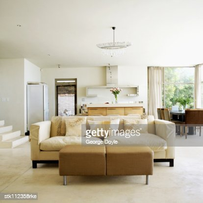View of a contemporary living room : Stock Photo
