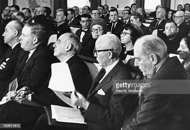 View of a council meeting about the proposed proposed 'Lower Manhattan Expressway' also known as the 'Broome Street Expressway' New York New York...