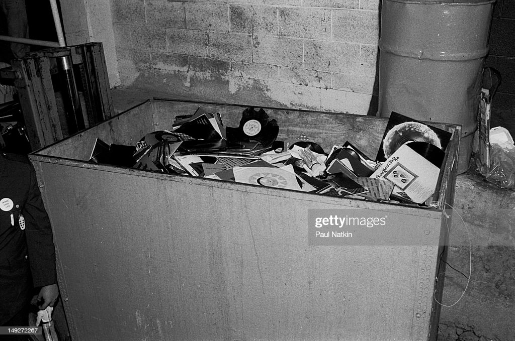 View of a crate full of unwanted disco records collected during an antidisco promotion at Comiskey Park Chicago Illinois July 12 1979 The event held...