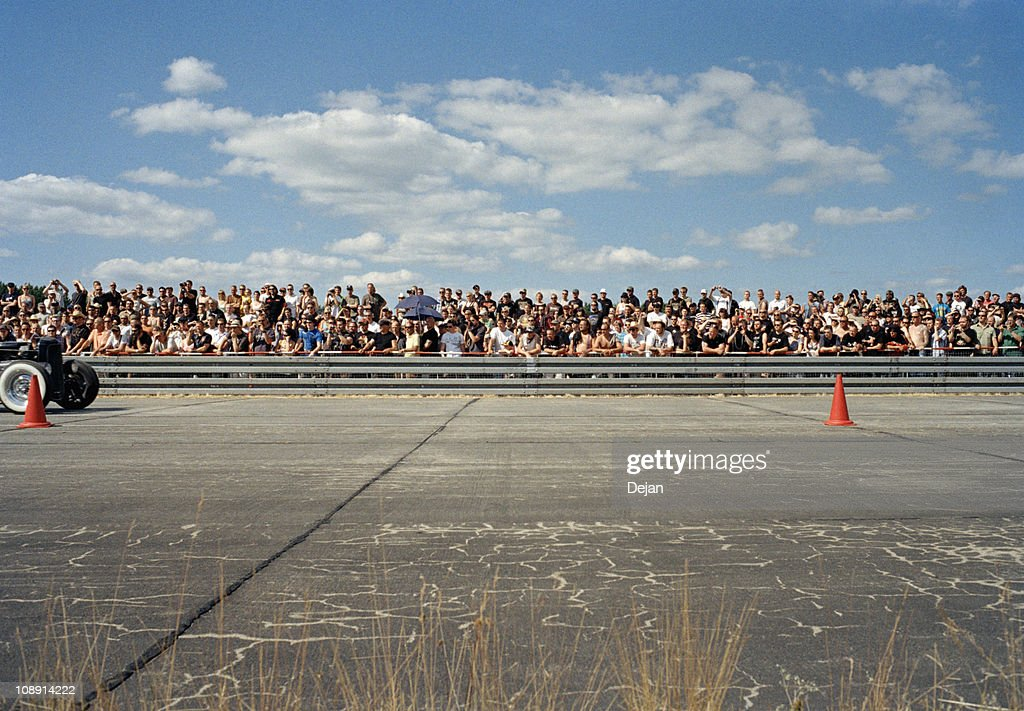 View of a crowd at a race track : Stock Photo