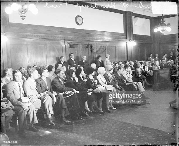 View of a crowd sitting in a courtroom during the trial involving millionaire Franklin Hardinge who was sued in a breach of promise case with Ann...