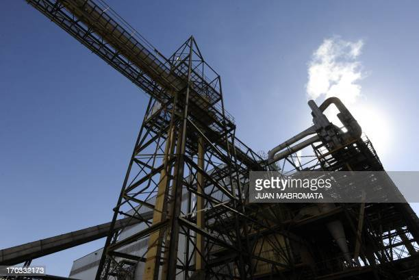 View of a crushing plant to process soy beans at the General San Martin port on the Parana river banks near San Lorenzo Santa Fe some 350 km...