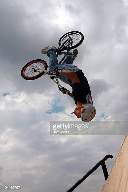 View of a cyclist in action during the BMX competition as part of the Snickers Urbania 2010 at Azteca Stadium on September 25 2010 in Mexico City...