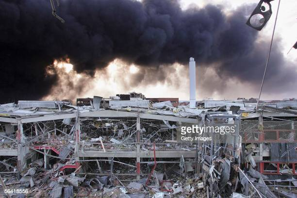 A view of a damaged office block near the Buncefield oil depot on December 12 2005 in Hemel Hempstead England Fire fighters are continuing to tackle...